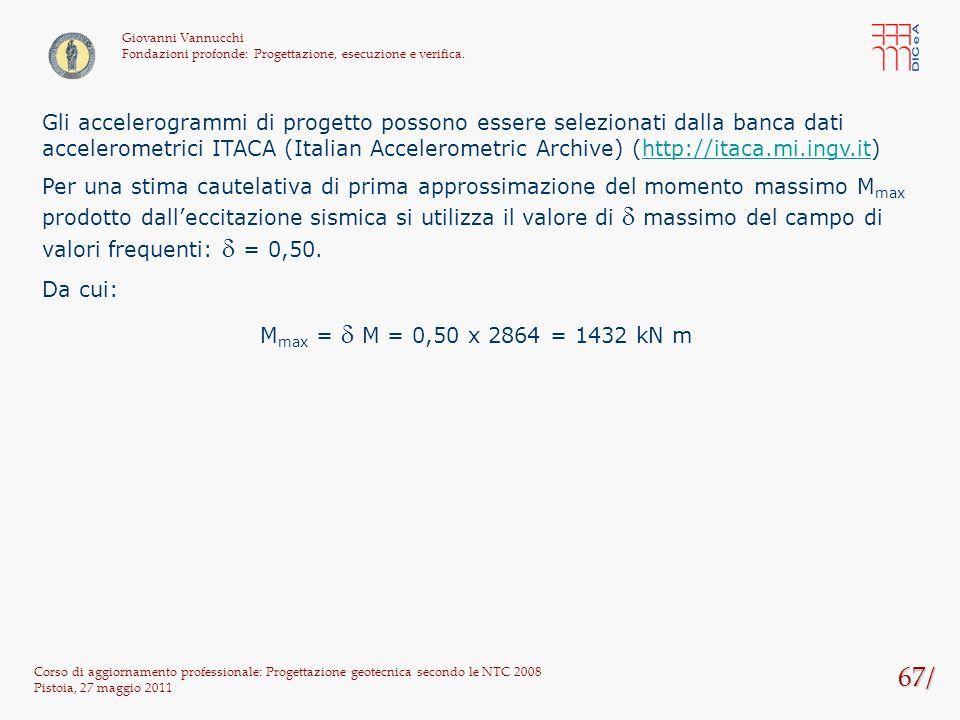 67/ Corso di aggiornamento professionale: Progettazione geotecnica secondo le NTC 2008 Pistoia, 27 maggio 2011 Giovanni Vannucchi Fondazioni profonde: