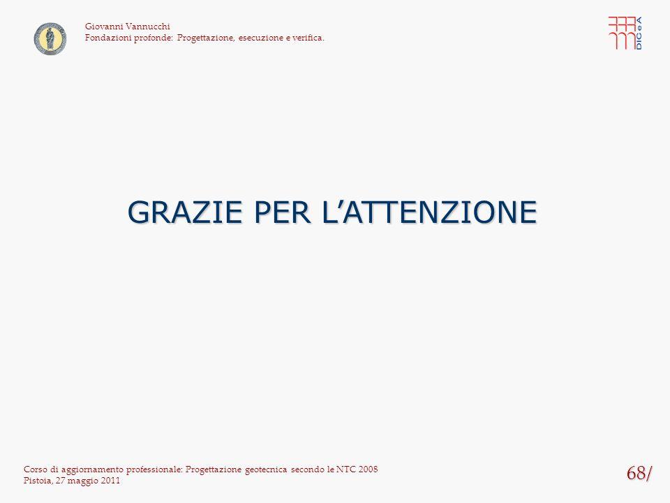 68/ Corso di aggiornamento professionale: Progettazione geotecnica secondo le NTC 2008 Pistoia, 27 maggio 2011 Giovanni Vannucchi Fondazioni profonde: