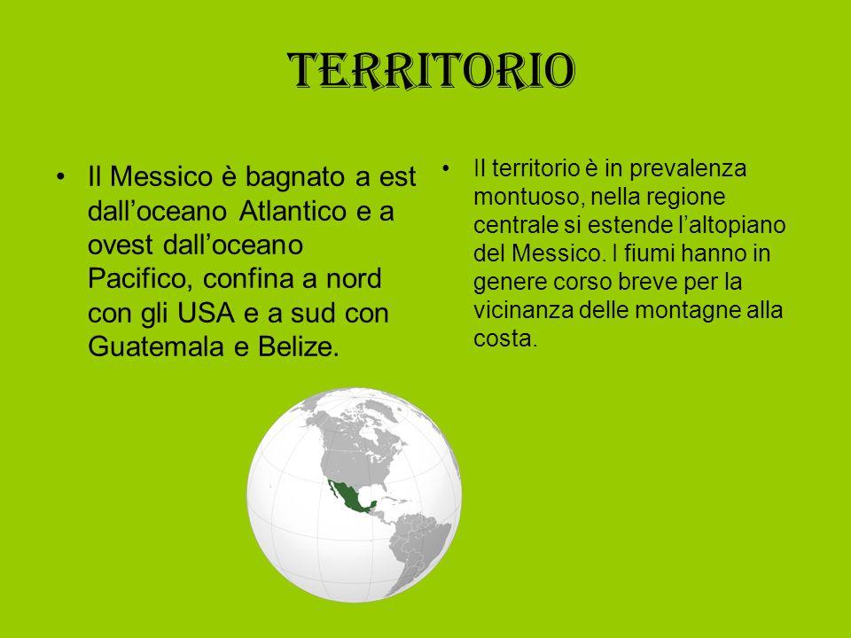Territorio Il Messico è bagnato a est dalloceano Atlantico e a ovest dalloceano Pacifico, confina a nord con gli USA e a sud con Guatemala e Belize. I