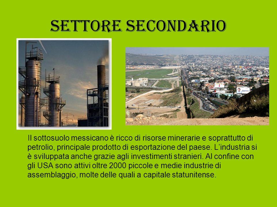 Settore secondario Il sottosuolo messicano è ricco di risorse minerarie e soprattutto di petrolio, principale prodotto di esportazione del paese. Lind