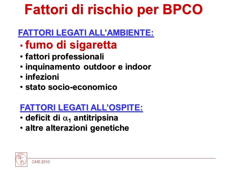 CMS 2010 Fattori di rischio per BPCO FATTORI LEGATI ALLAMBIENTE: FATTORI LEGATI ALLAMBIENTE: fumo di sigaretta fumo di sigaretta fattori professionali