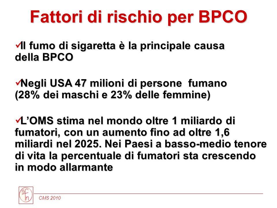 CMS 2010 Fattori di rischio per BPCO Il fumo di sigaretta è la principale causa della BPCO Il fumo di sigaretta è la principale causa della BPCO Negli