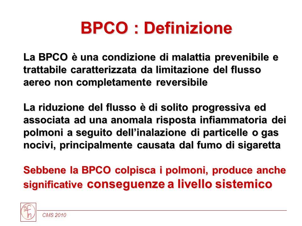 La BPCO è una condizione di malattia prevenibile e trattabile caratterizzata da limitazione del flusso aereo non completamente reversibile La riduzion