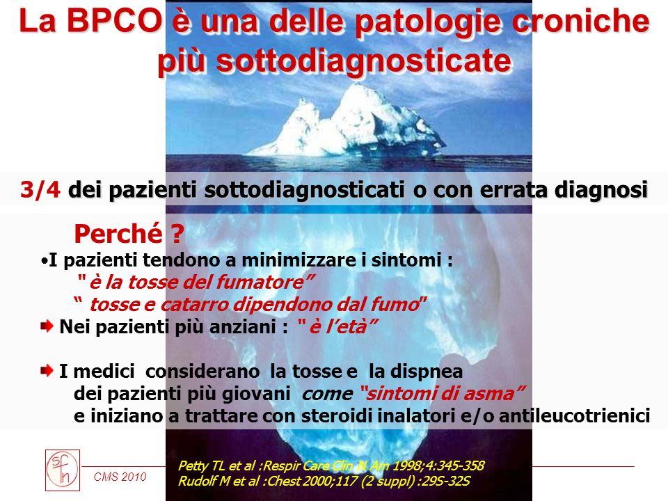 CMS 2010 dei pazienti sottodiagnosticati o con errata diagnosi 3/4 dei pazienti sottodiagnosticati o con errata diagnosi Petty TL et al :Respir Care C