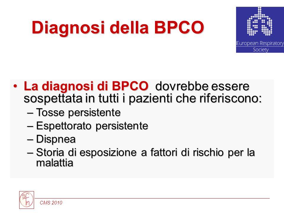 CMS 2010 Diagnosi della BPCO La diagnosi di BPCO dovrebbe essere sospettata in tutti i pazienti che riferiscono:La diagnosi di BPCO dovrebbe essere so
