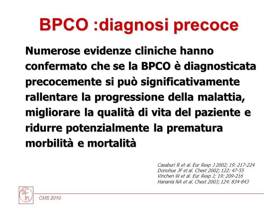 CMS 2010 Numerose evidenze cliniche hanno confermato che se la BPCO è diagnosticata precocemente si può significativamente rallentare la progressione