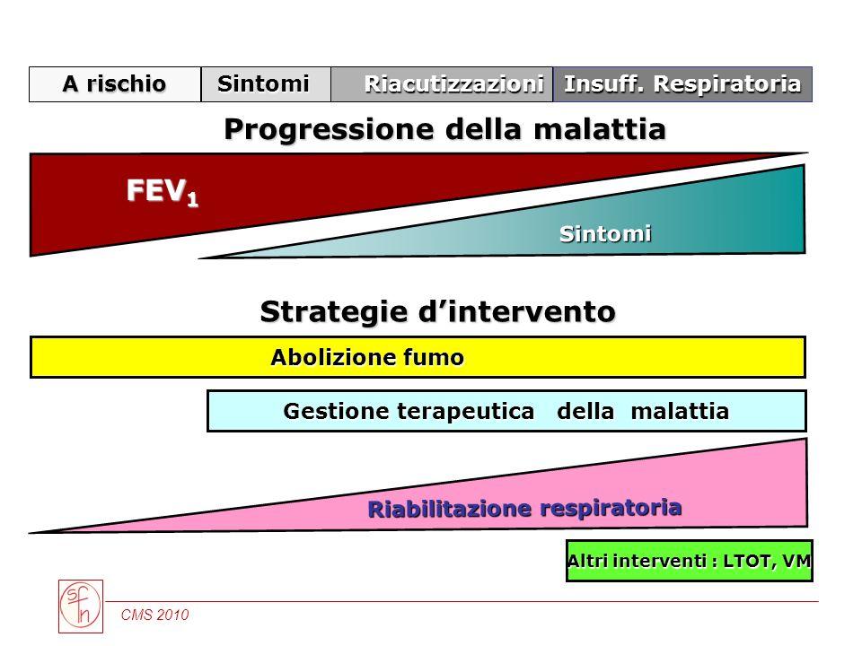 CMS 2010 Riabilitazione respiratoria Altri interventi : LTOT, VM Gestione terapeutica della malattia Abolizione fumo Abolizione fumo A rischio Sintomi