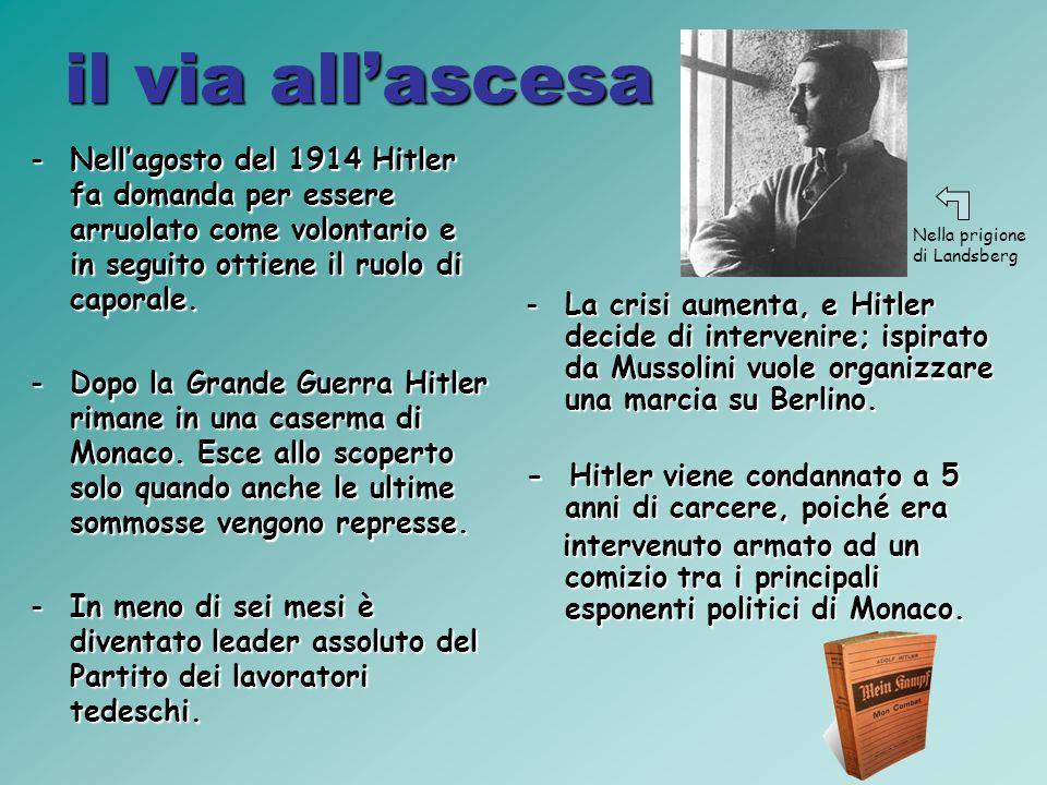 il via allascesa -Nellagosto del 1914 Hitler fa domanda per essere arruolato come volontario e in seguito ottiene il ruolo di caporale.