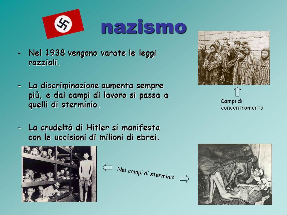 nazismo -Nel 1938 vengono varate le leggi razziali.