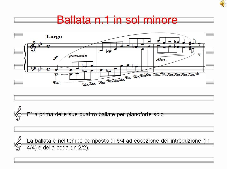 Ballata n.1 in sol minore E la prima delle sue quattro ballate per pianoforte solo La ballata è nel tempo composto di 6/4 ad eccezione dell'introduzio