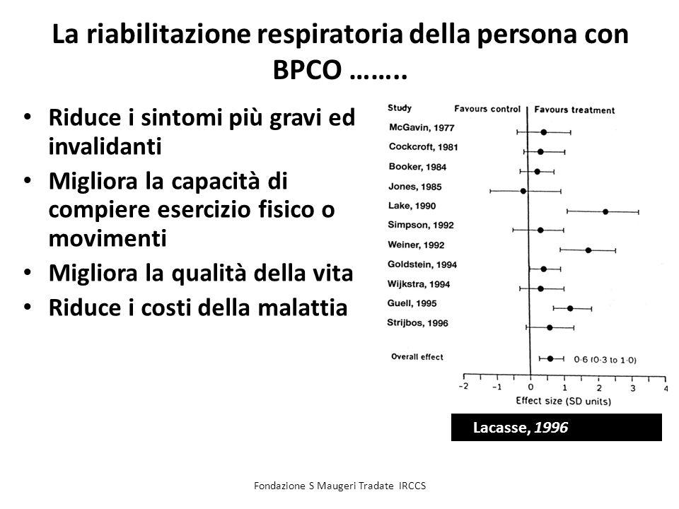 Fondazione S Maugeri Tradate IRCCS La riabilitazione respiratoria della persona con BPCO …….. Riduce i sintomi più gravi ed invalidanti Migliora la ca