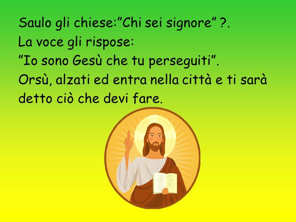Saulo gli chiese:Chi sei signore ?. La voce gli rispose: Io sono Gesù che tu perseguiti. Orsù, alzati ed entra nella città e ti sarà detto ciò che dev