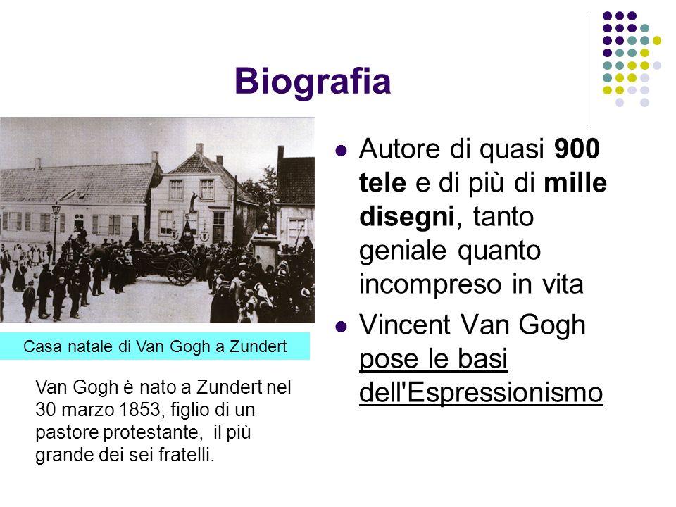 Biografia Autore di quasi 900 tele e di più di mille disegni, tanto geniale quanto incompreso in vita Vincent Van Gogh pose le basi dell'Espressionism