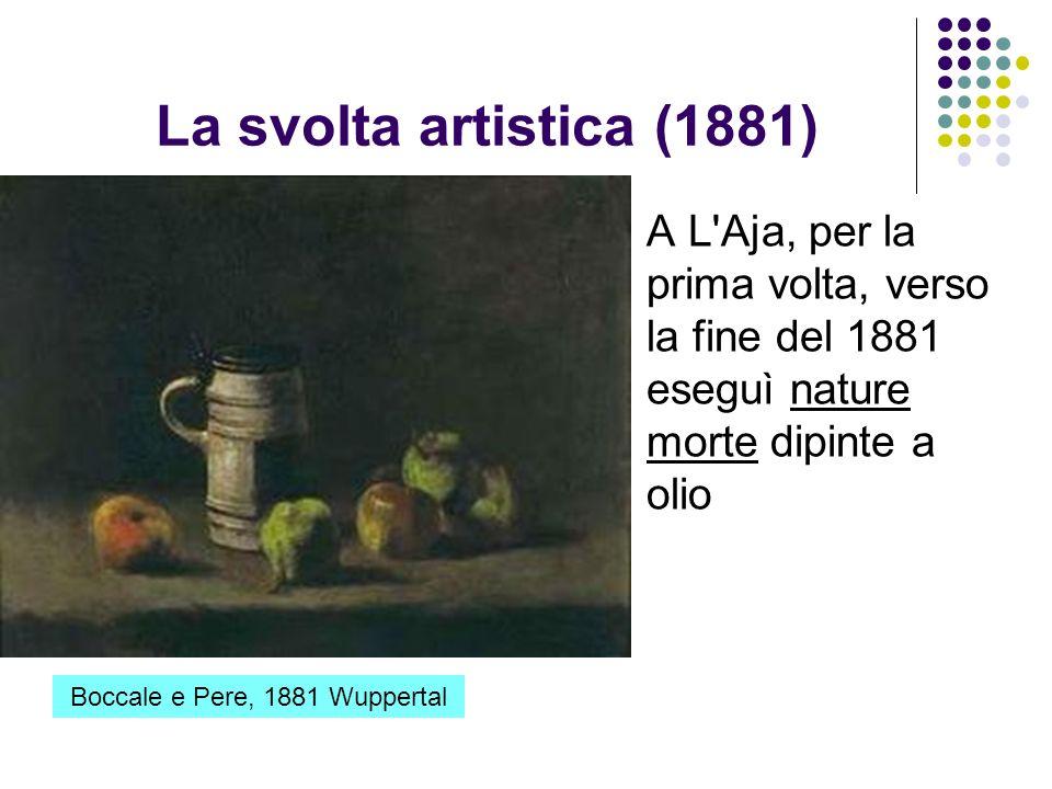 La svolta artistica (1881) A L'Aja, per la prima volta, verso la fine del 1881 eseguì nature morte dipinte a olio Boccale e Pere, 1881 Wuppertal