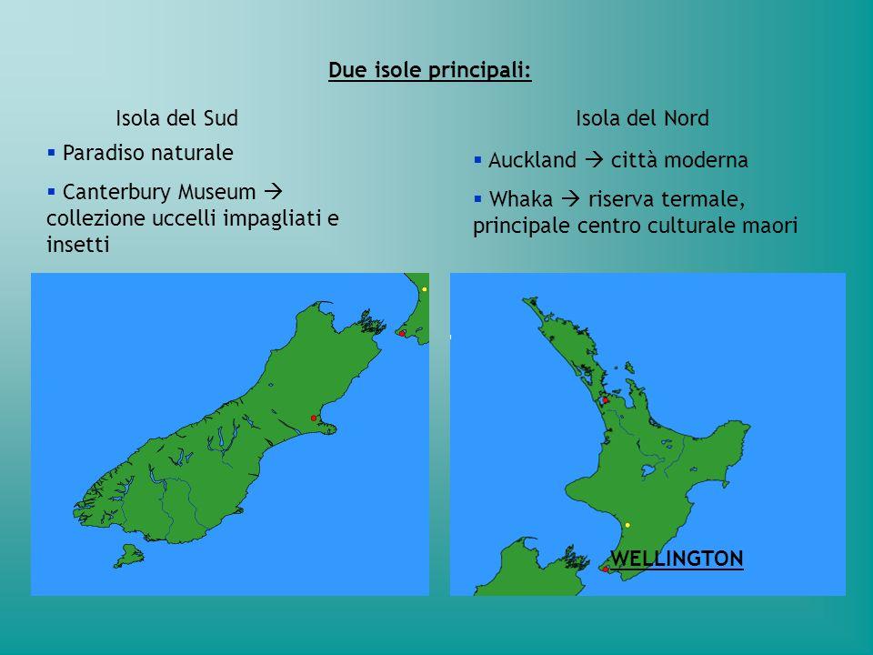 Due isole principali: Isola del SudIsola del Nord Auckland città moderna Whaka riserva termale, principale centro culturale maori Paradiso naturale Ca