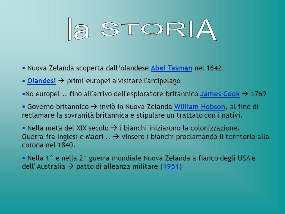 Nuova Zelanda scoperta dallolandese Abel Tasman nel 1642. Olandesi primi europei a visitare l'arcipelago No europei.. fino all'arrivo dell'esploratore