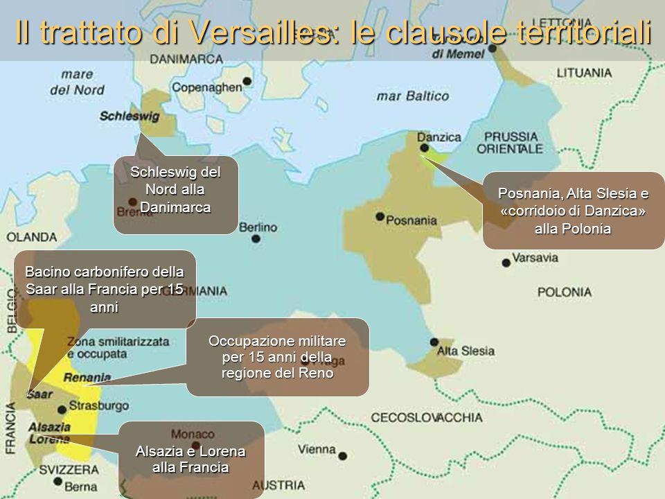 Il trattato di Versailles: le clausole territoriali Schleswig del Nord alla Danimarca Posnania, Alta Slesia e «corridoio di Danzica» alla Polonia Occu