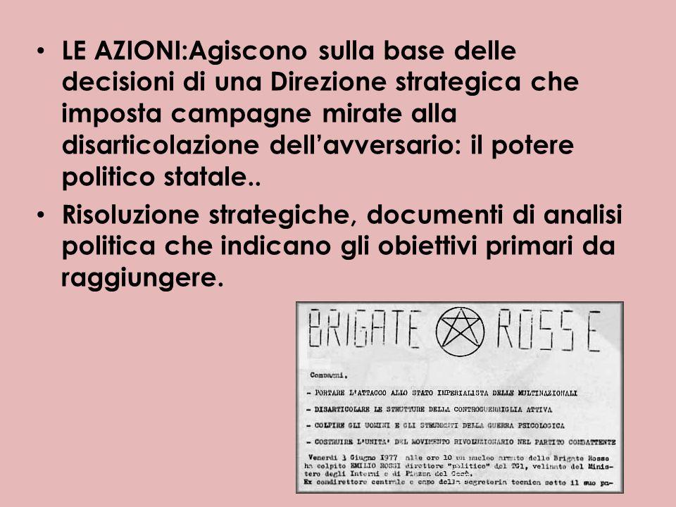 LE AZIONI:Agiscono sulla base delle decisioni di una Direzione strategica che imposta campagne mirate alla disarticolazione dellavversario: il potere politico statale..