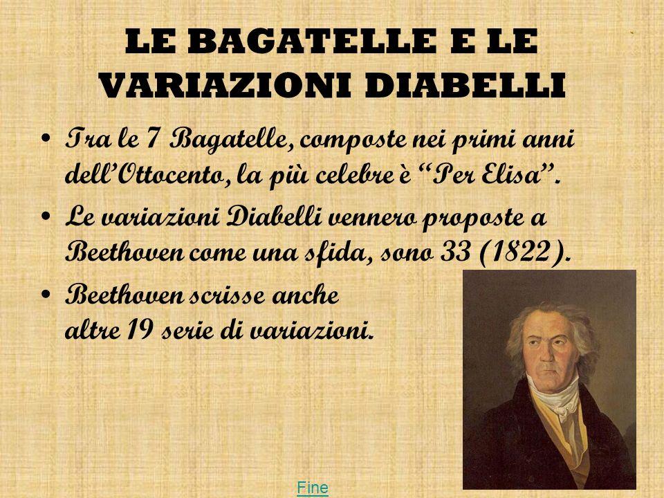 LE BAGATELLE E LE VARIAZIONI DIABELLI Tra le 7 Bagatelle, composte nei primi anni dellOttocento, la più celebre è Per Elisa. Le variazioni Diabelli ve