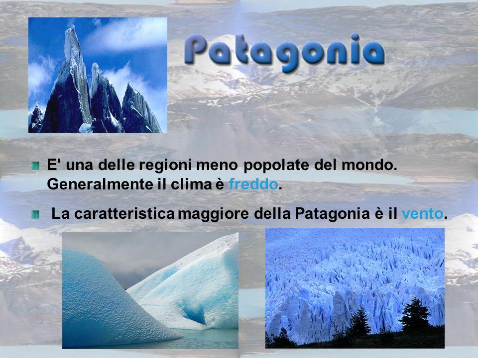 freddo E' una delle regioni meno popolate del mondo. Generalmente il clima è freddo. vento. La caratteristica maggiore della Patagonia è il vento.