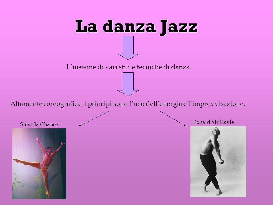 La danza Jazz Linsieme di vari stili e tecniche di danza. Altamente coreografica, i principi sono luso dellenergia e limprovvisazione. Steve la Chance