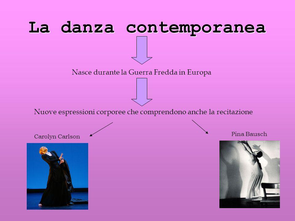 La danza contemporanea Nasce durante la Guerra Fredda in Europa Nuove espressioni corporee che comprendono anche la recitazione Carolyn Carlson Pina B