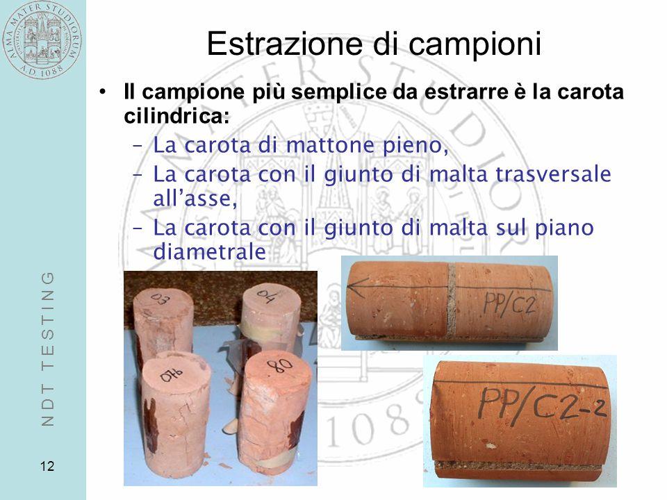 12 Estrazione di campioni Il campione più semplice da estrarre è la carota cilindrica: –La carota di mattone pieno, –La carota con il giunto di malta
