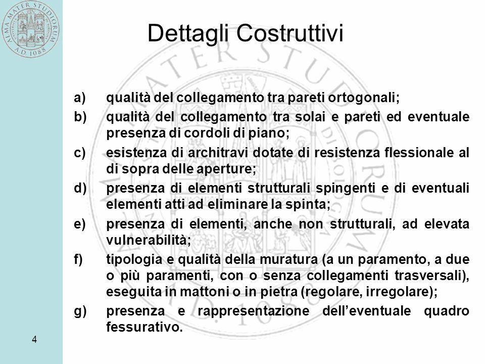 4 Dettagli Costruttivi a)qualità del collegamento tra pareti ortogonali; b)qualità del collegamento tra solai e pareti ed eventuale presenza di cordol