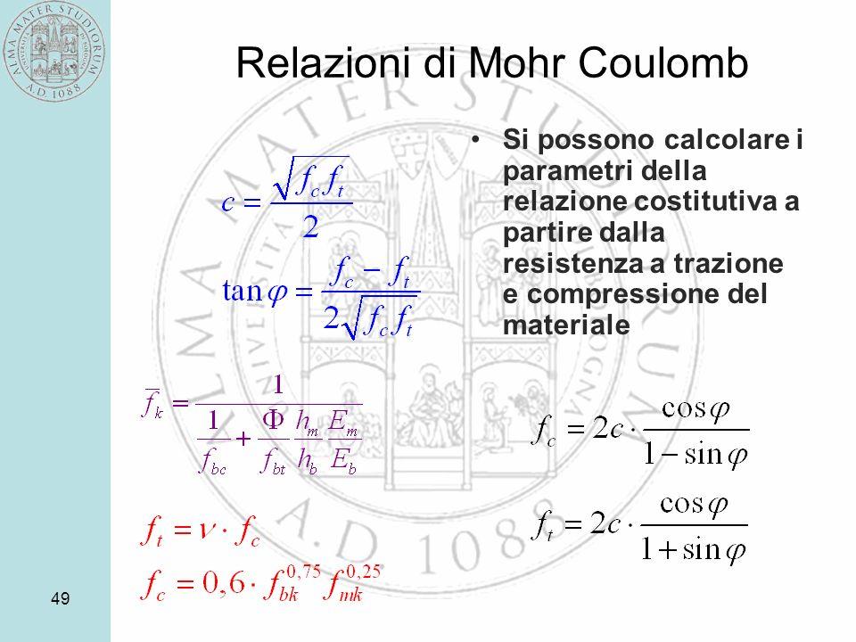 49 Relazioni di Mohr Coulomb Si possono calcolare i parametri della relazione costitutiva a partire dalla resistenza a trazione e compressione del materiale