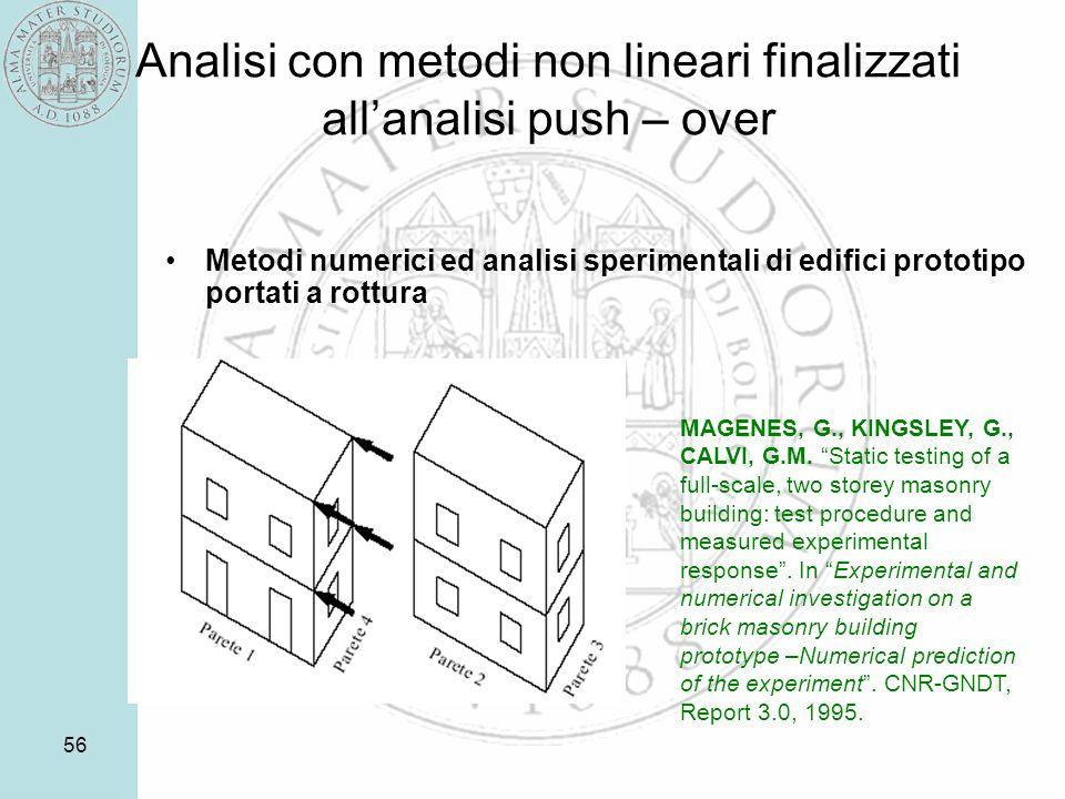 56 Analisi con metodi non lineari finalizzati allanalisi push – over Metodi numerici ed analisi sperimentali di edifici prototipo portati a rottura MAGENES, G., KINGSLEY, G., CALVI, G.M.