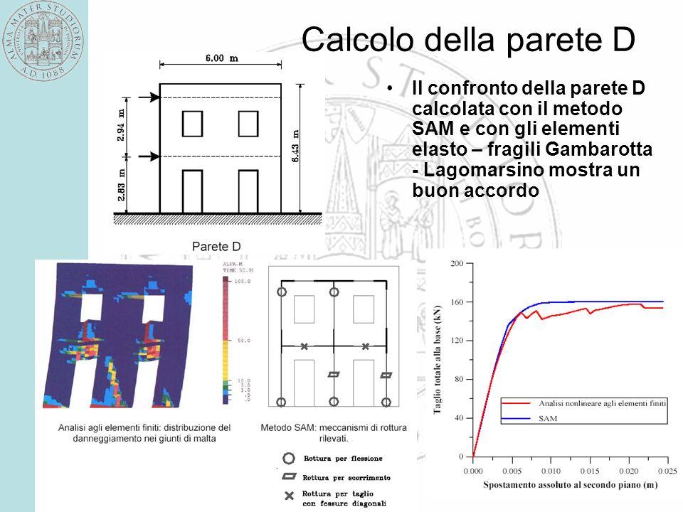 58 Calcolo della parete D Il confronto della parete D calcolata con il metodo SAM e con gli elementi elasto – fragili Gambarotta - Lagomarsino mostra un buon accordo