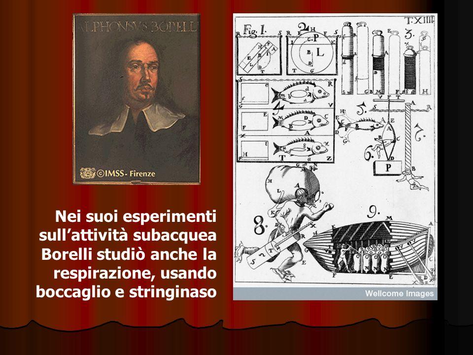 Nei suoi esperimenti sullattività subacquea Borelli studiò anche la respirazione, usando boccaglio e stringinaso