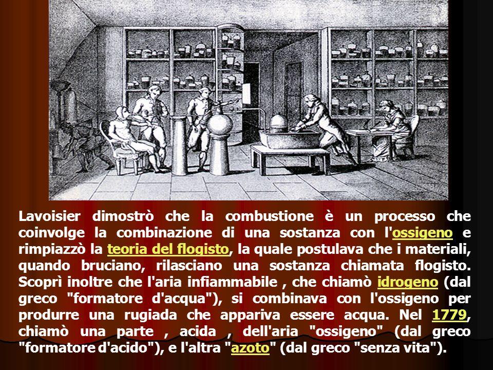 Lavoisier dimostrò che la combustione è un processo che coinvolge la combinazione di una sostanza con l'ossigeno e rimpiazzò la teoria del flogisto, l