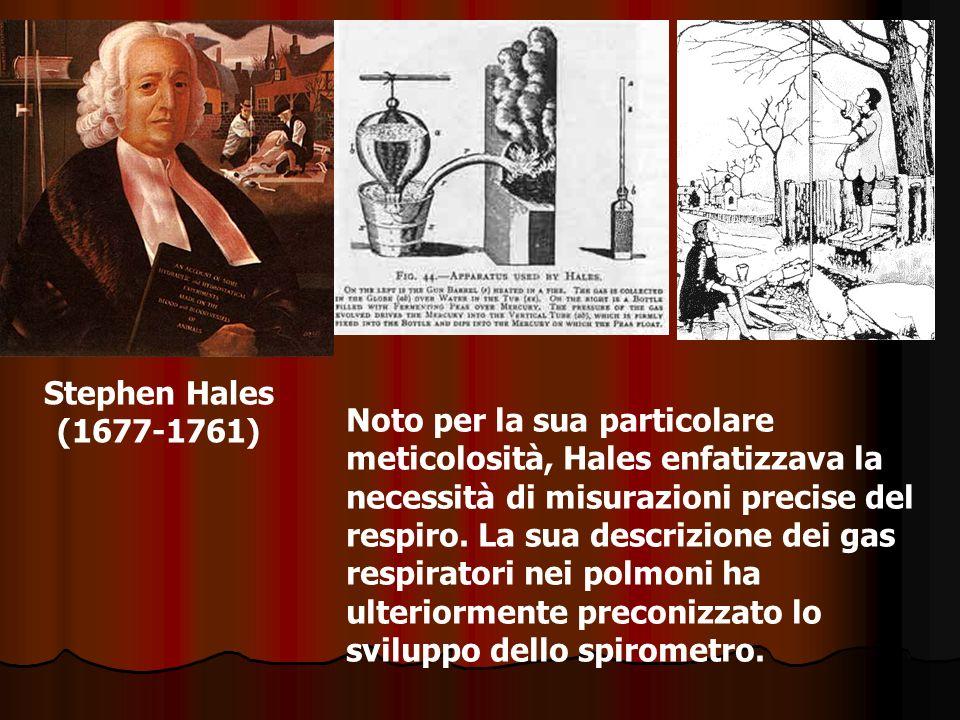 Stephen Hales (1677-1761) Noto per la sua particolare meticolosità, Hales enfatizzava la necessità di misurazioni precise del respiro. La sua descrizi