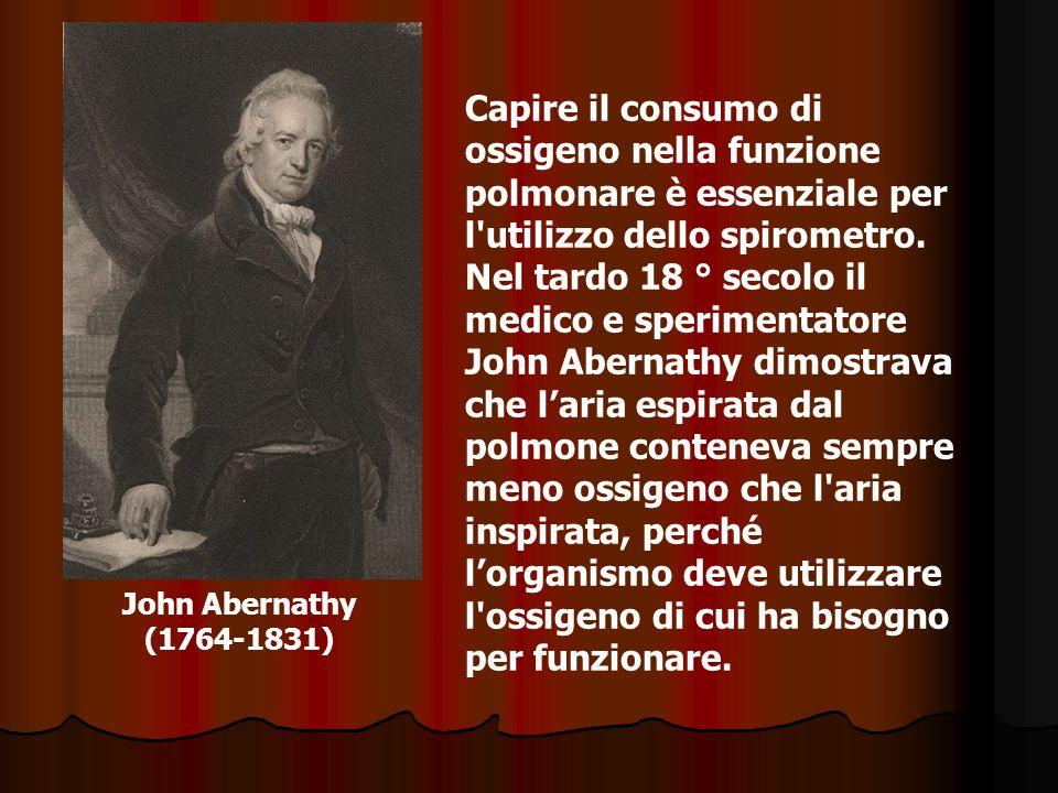 John Abernathy (1764-1831) Capire il consumo di ossigeno nella funzione polmonare è essenziale per l'utilizzo dello spirometro. Nel tardo 18 ° secolo