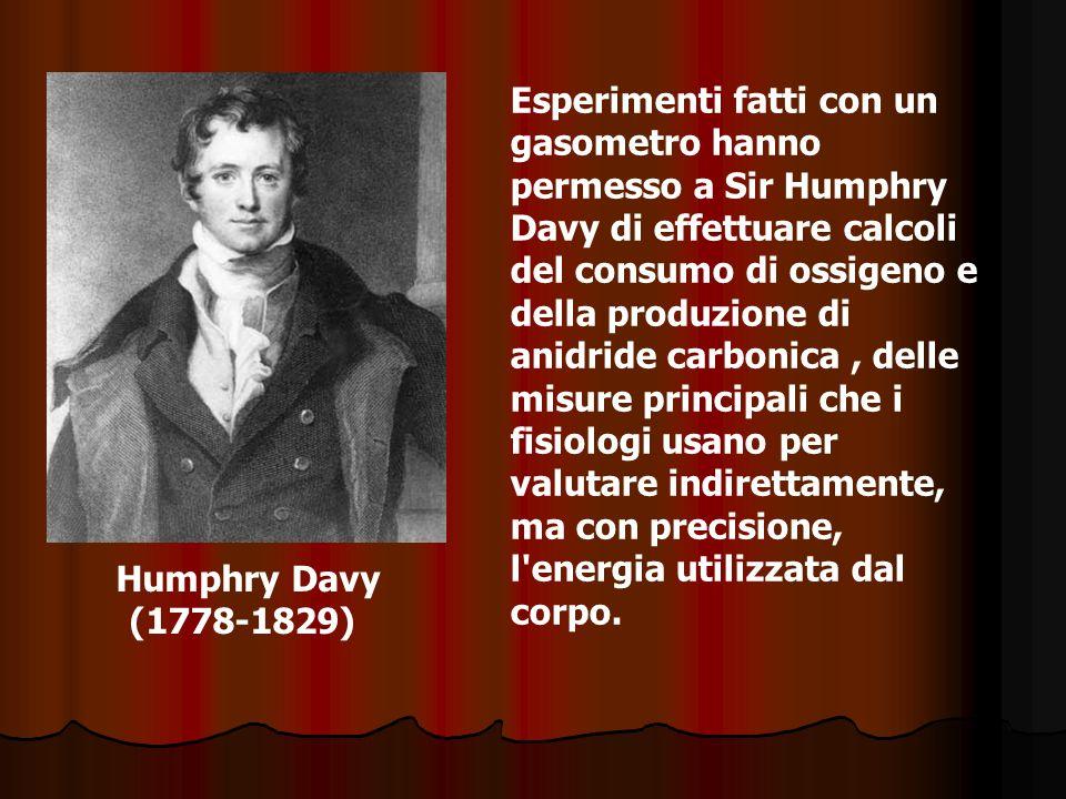 Humphry Davy (1778-1829) Esperimenti fatti con un gasometro hanno permesso a Sir Humphry Davy di effettuare calcoli del consumo di ossigeno e della pr