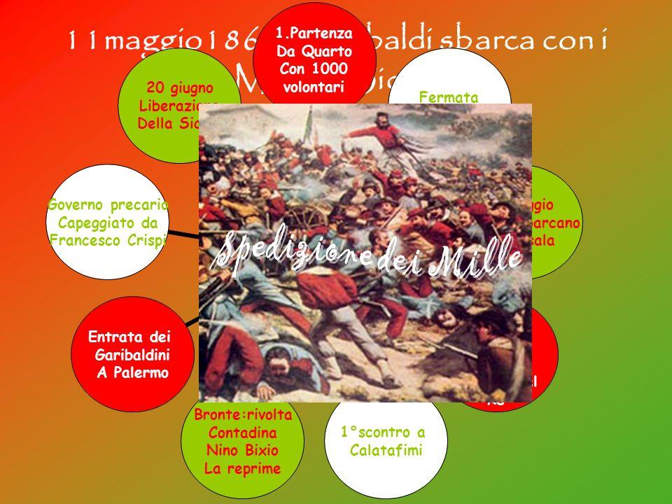 11maggio1860: Garibaldi sbarca con i Mille in Sicilia Spedizione dei Mille 1.Partenza Da Quarto Con 1000 volontari Fermata A Talamone 11maggio I Mille
