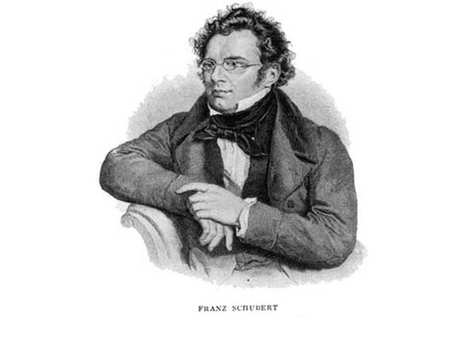 Franz Schubert (1797-1828) Compositore Austriaco, nacque e morì a Vienna Fu cantore della Imperiale e Regia cappella Studiò con Antonio Salieri Lavorò come maestro di scuola Non ebbe sempre impiego stabile ma riuscì a vivere e comporre nonostante ristrettezze economiche