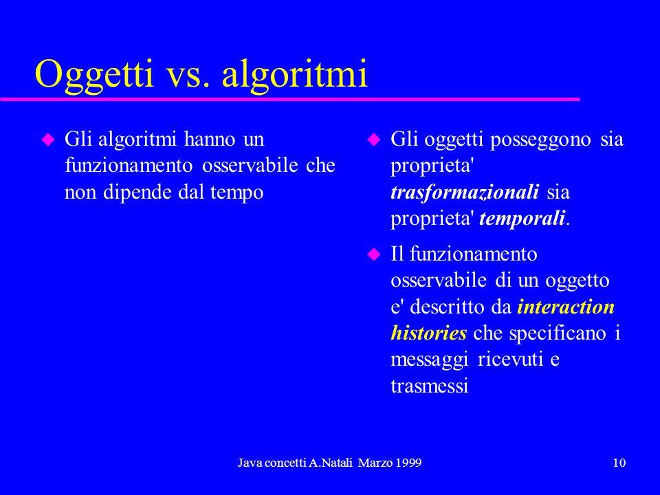 Java concetti A.Natali Marzo 199910 Oggetti vs. algoritmi u Gli algoritmi hanno un funzionamento osservabile che non dipende dal tempo u Gli oggetti p