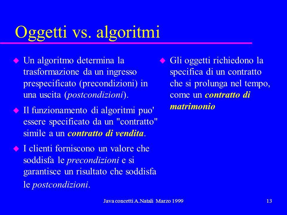 Java concetti A.Natali Marzo 199913 Oggetti vs. algoritmi u Un algoritmo determina la trasformazione da un ingresso prespecificato (precondizioni) in