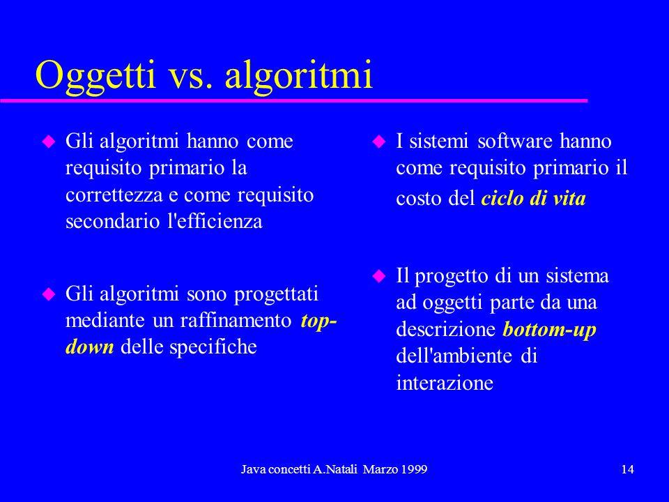 Java concetti A.Natali Marzo 199914 Oggetti vs. algoritmi u Gli algoritmi hanno come requisito primario la correttezza e come requisito secondario l'e