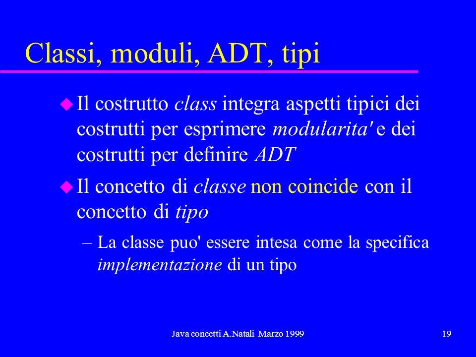 Java concetti A.Natali Marzo 199919 Classi, moduli, ADT, tipi u Il costrutto class integra aspetti tipici dei costrutti per esprimere modularita e dei costrutti per definire ADT u Il concetto di classe non coincide con il concetto di tipo –La classe puo essere intesa come la specifica implementazione di un tipo