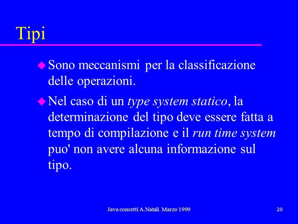 Java concetti A.Natali Marzo 199920 Tipi u Sono meccanismi per la classificazione delle operazioni. u Nel caso di un type system statico, la determina