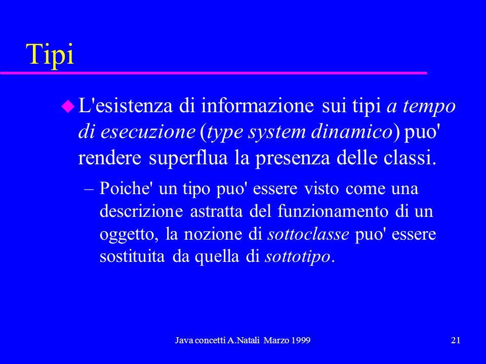 Java concetti A.Natali Marzo 199921 Tipi u L esistenza di informazione sui tipi a tempo di esecuzione (type system dinamico) puo rendere superflua la presenza delle classi.