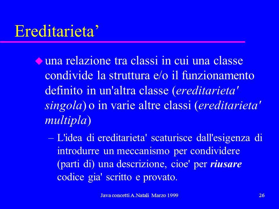 Java concetti A.Natali Marzo 199926 Ereditarieta u una relazione tra classi in cui una classe condivide la struttura e/o il funzionamento definito in un altra classe (ereditarieta singola) o in varie altre classi (ereditarieta multipla) –L idea di ereditarieta scaturisce dall esigenza di introdurre un meccanismo per condividere (parti di) una descrizione, cioe per riusare codice gia scritto e provato.