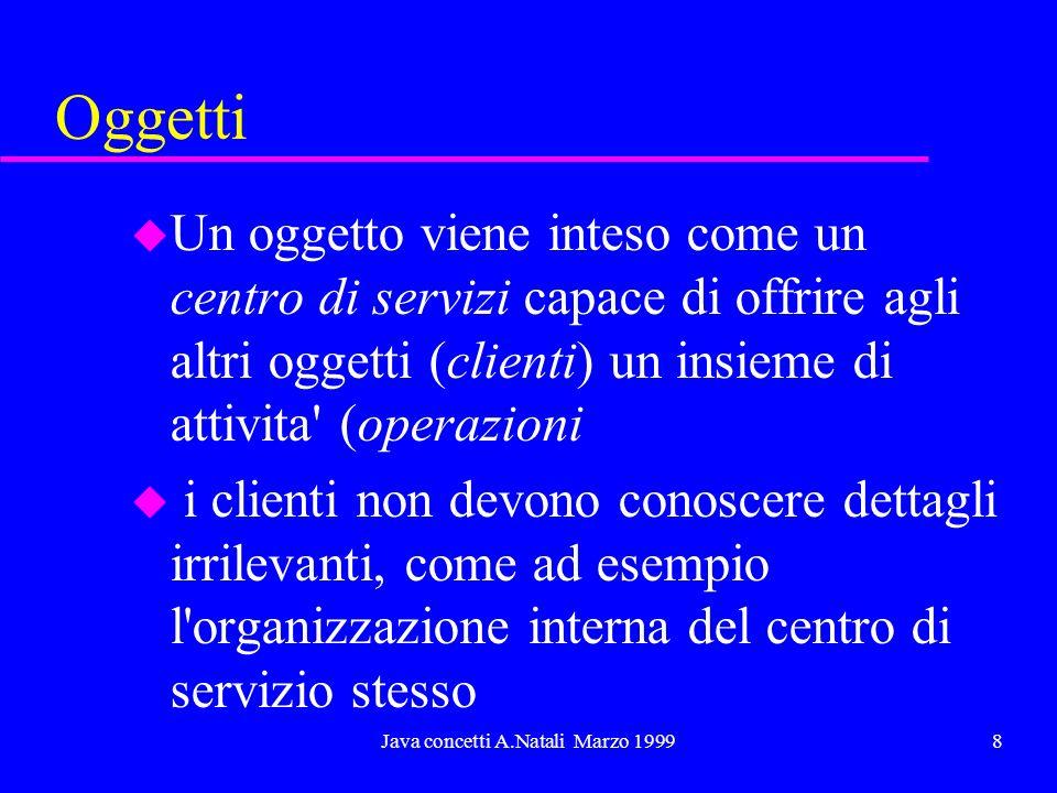 Java concetti A.Natali Marzo 19998 Oggetti u Un oggetto viene inteso come un centro di servizi capace di offrire agli altri oggetti (clienti) un insie
