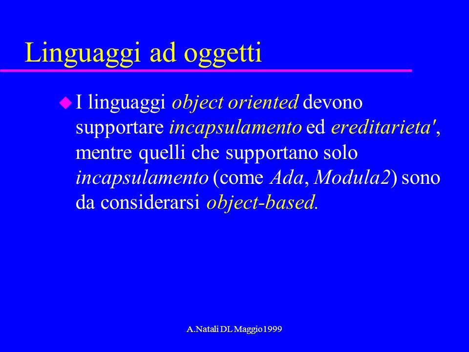 A.Natali DL Maggio1999 Linguaggi ad oggetti u I linguaggi object oriented devono supportare incapsulamento ed ereditarieta', mentre quelli che support