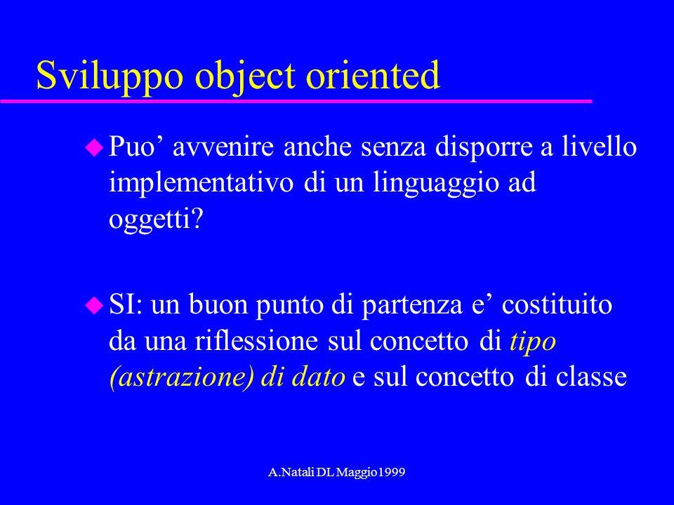 A.Natali DL Maggio1999 Sviluppo object oriented u Puo avvenire anche senza disporre a livello implementativo di un linguaggio ad oggetti? u SI: un buo