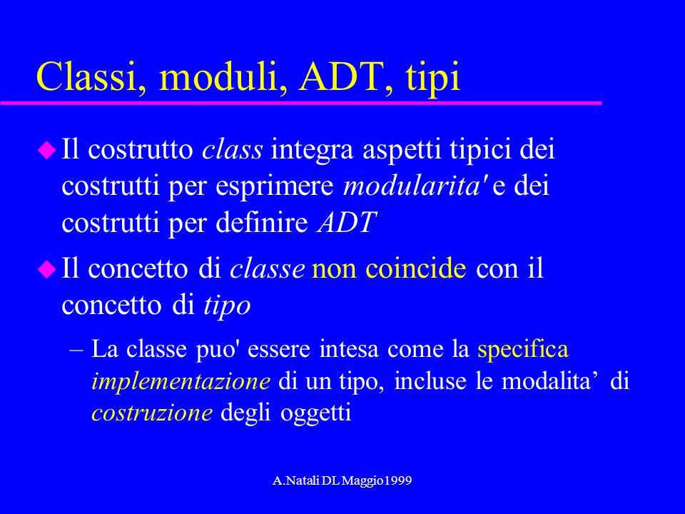 A.Natali DL Maggio1999 Classi, moduli, ADT, tipi u Il costrutto class integra aspetti tipici dei costrutti per esprimere modularita' e dei costrutti p