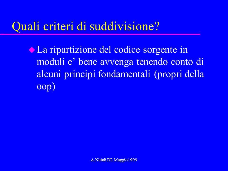 A.Natali DL Maggio1999 Quali criteri di suddivisione? u La ripartizione del codice sorgente in moduli e bene avvenga tenendo conto di alcuni principi